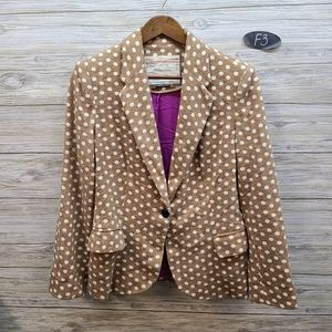 Anthropologie Cartonnier Tan Dotted Blazer